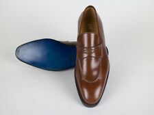 New SUTOR MANTELLASSI Brown Leather Penny Loafers Shoes Size 8 US $850