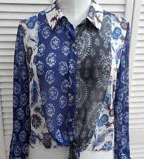 CHICO'S SHIRT BLOUSE size 1/6/8 Blue White Red Tie Long Sleeve WOMENS
