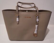 NWT Michael Kors  Jet Set Travel Tote Saffiano Dark Taupe Leather Purse Bag -Med