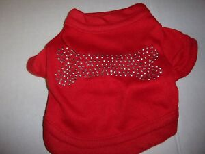 Lightweight RED T- Shirt Dog bone Studded Knit  XXS XS S Paws n Claws  new
