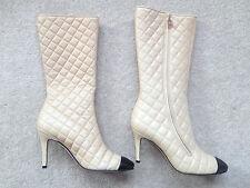 CHANEL Designer Authentique Matelassé Cuir D'agneau Cuir Tan Beige Noir Bottes Chaussures