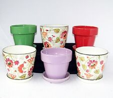 "6"" SET OF 6 INDOOR PLANTERS WITH SAUCERS MULTIPLE COLORS SMALL FLOWER POTS CATR"