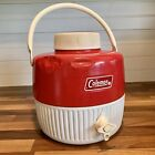 Vintage Coleman 1 Gallon Red White Water Cooler Jug Dispenser Cup and Lid Handle