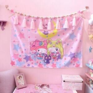 Anime Sailor Moon Pink Wall Decor  Bedroom Hanging Tapestry Decor Tablecloth Cut