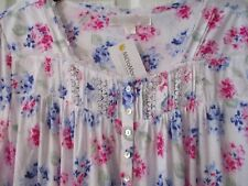NWT EILEEN WEST NIGHTGOWN Cotton Modal Cap Sleeve Gown Pink Blue White Floral 3X