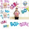 BOY GIRL HAPPY BIRTHYDAY Banner Balloon Baby Shower Gender Reveal Party Decor