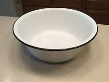 Vintage Enamelware Large Bowl Holds 20 Cups of Liquid White W/ Black Trim