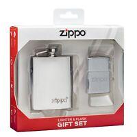 Zippo Brushed Chrome Windproof Lighter & Flask Gift Set, 49098