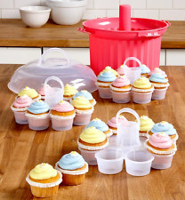 Cupcake Carrier Holder Tote Party Server 2 Dozen Muffins Capacity Pink Container