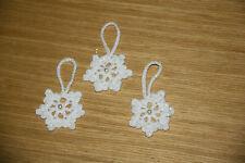 3 x HANDMADE CROCHET WHITE sparkly SMALL SNOWFLAKE CHRISTMAS DECORATIONS