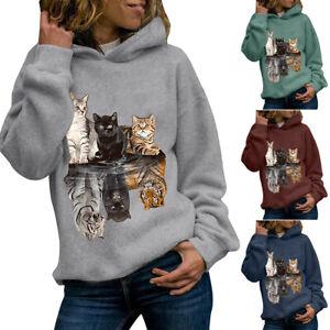 Women Ladies Cat Print Hoodie Sweatshirt Long Sleeve Hooded Jumper Pullover Tops
