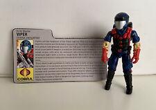1986 Vintage GI Joe Action Figure- Viper Cobra No Gun Complete With File Card