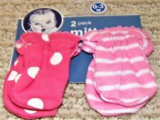 New Baby Girl Infant Mittens - Newborn - 0-3 Months - Pink Stripes + Polka Dots
