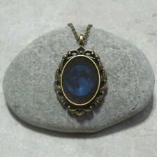 Blue Full Moon Pendant Necklace Jewelry Antique Bronze