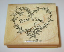Best Wishes Rubber Stamp Heart Birds Nest Branches Stampin' Up! Retired