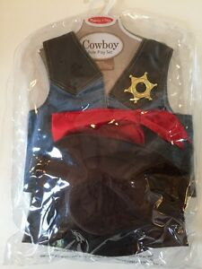 Melissa And Doug Cowboy Cowgirl Sheriff Role Play Costume Set NIP Ages 3-5