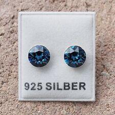 NEU 925 Silber OHRSTECKER 8mm SWAROVSKI STEINE montana/blau/dunkelblau OHRRINGE