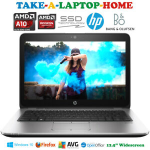 "HP QuadCore Fast Laptop Windows10 EliteBook Gaming BIG 12Gb Ram 12.5"" SSD Radeon"