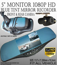 JDM 300mm Blue Tint New 1080P HD Front Back Dash Cam Car Rearview Mirror #QF259