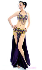 C853 NEW Belly Dance Costume Outfit Set Bra Top Belt Hip Scarf Hollywood 3 PCS