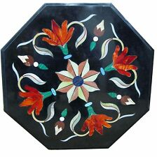 "18"" Black Marble Table Top Inlay art Work Handmade Home Decor Garden"