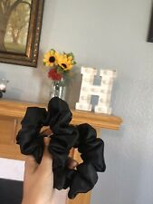 1PC Black Silky Satin Scrunchie Elastic Hair Ring Solid Color Hair Tie Band