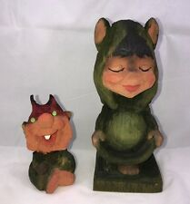 Lot Of 2 Vintage Henning Craved By Hand Green Trolls Norway Collectible Gift