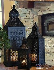 Set of 3 Large Metal Vintage Moroccan Style Tea Light Candle Lantern Holder