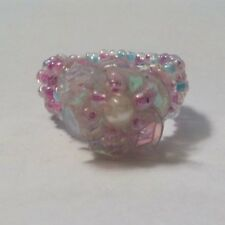 Vintage Colorful Beads, Faux Pearls & Clear Plastic Ring - Size 5