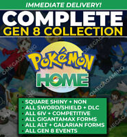 Pokemon Home COMPLETE Gen 8 Dex Shiny + Non, ALL DLC, All Forms, GMax, All Event