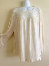 Style & Co. Peasant Knit Top Blouse Tunic Shirt Boho Light Beige XL X-Large F517