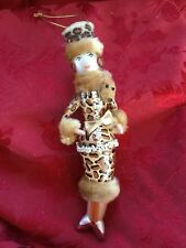 NEW Exceptional TALL Glass LADIES With ELEGANCE Fox Collar Christmas ORNAMENT