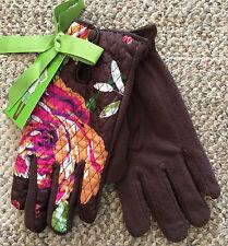 Vera Bradley Womens Size M L  Winter Gloves English Rose Brown Pink Floral