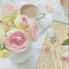 2 Serviettes en papier Café Rose écriture Paper Napkins Romantic Break coffee