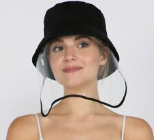 Adult Bucket Hat Protective Face Shield Hat with Clear Shield  - BLACK