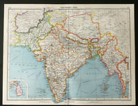 Vintage Map Of Southern Asia India Burma Kashmir Tibet 1952