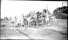 Exposition multiple portrait cyclistes vélo - négatif photo ancien circa 1910