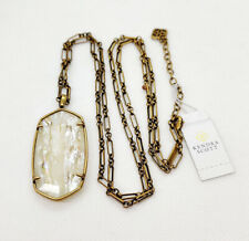 New Kendra Scott Faceted Reid Long Necklace in White Abalone / Vintage Gold
