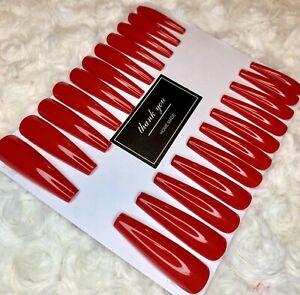 Red XXL False Ballerina Nails Set