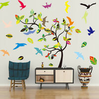 Colorful Birds Tree Branch Wall Sticker Vinyl Home Wall Removable Decal Decor