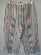 NEW-Talbots Petites Womens Cropped Capri linen striped Pants Size 6- NWOT
