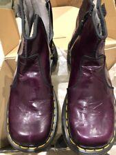 Dr Martens Eggplant Purple Zip Leather Bootie Shoe Boot Costume 37 6 5 4 Vtg Doc
