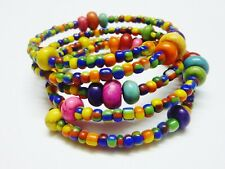 Beaded Bohemian Memory Wire Wrap Bracelet Handmade Costume Jewellery