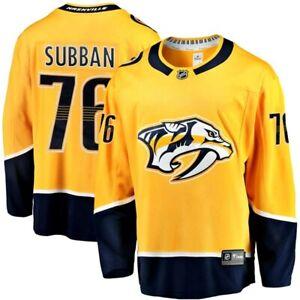 NASHVILLE PREDATORS NHL P.K.SUBBAN #76 ALL SEWN BREAKAWAY HOME GOLD JERSEY NW