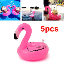 5 Inflatable Flamingo Drink Cup Can Beer Bottle Holder Pool Party Bath Toy Float