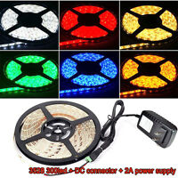 5M Waterproof 3528 SMD 300 LED Strip Rope Lights + DC Connector + 12V 2A Power