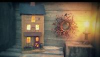 Farmhouse , Farmhouse Decor , Lighted House , Primitive House , Rustic Birdhouse