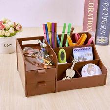 Coffee Office Home Plastic Desk Pen Pencil Holder Storage Box Drawer Organizer