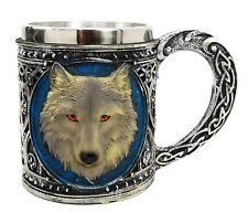 Alpha Grey Wolf Spirit Celtic Mug with Stainless Rim Figurine Statue