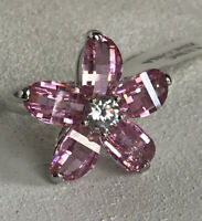 Park Lane Star Ring Size 9 Silver Tone Pink Ice Petal Cz Extremely Rare Nwt!